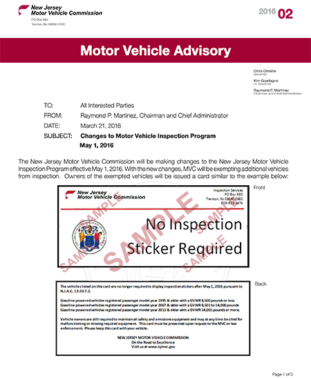 new jersey motor vehicle commission cessation of