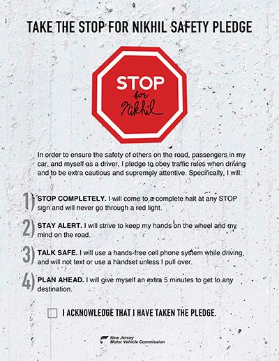 Safety Pledge to Nikhil