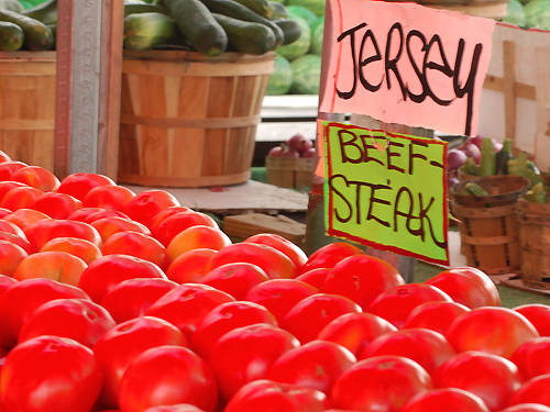 Jersey Fresh Beef Steak tomatoes on display at a roadside market in Burlington County