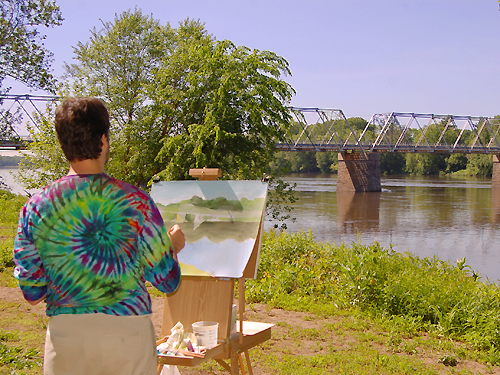 An artist captures the beauty of the Delaware River and the bridge that connects NJ and Pennsylvania, Mercer County