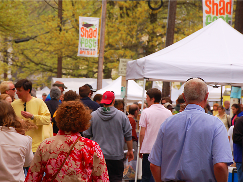 Visitors walk along Union Street during the annual Shad Festival in Lambertville, Hunterdon County