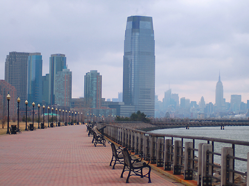 The Jersey City skyline as seen from Liberty Walk along the Hudson River.