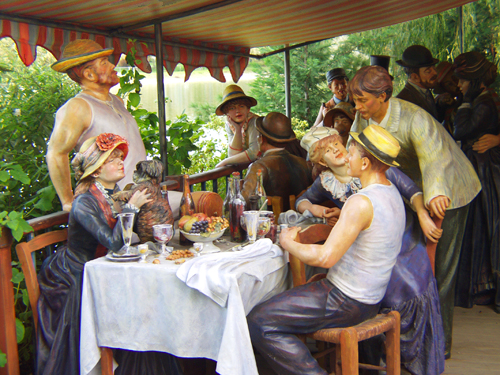 Life-size sculpture recreation of Renoir's famous painting, Grounds for Sculpture, Mercer County