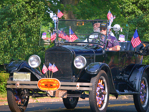 "Veterans ride in an old ""tin lizzy"", Memorial Day Parade, Yardville, Mercer County"