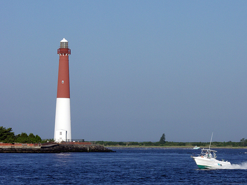 Barnegat Lighthouse across the inlet from Island Beach State Park, NJ