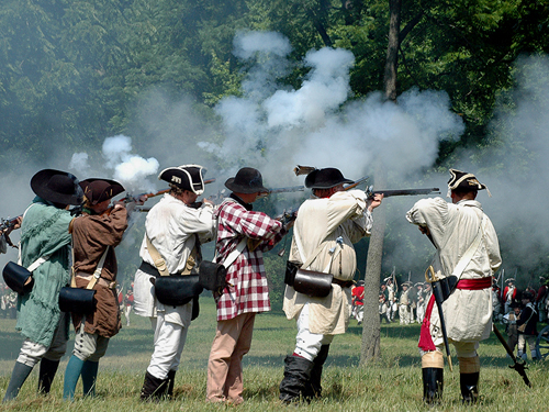 English officer rallying troops at theannual  Battle of Monmouth reenactment, Freehold, NJ