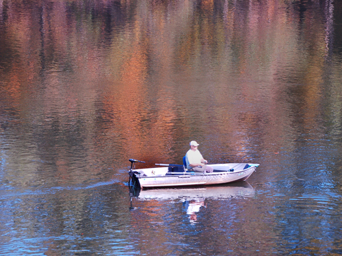 Fishing on the colorful Delaware River near the Water Gap, Warren County