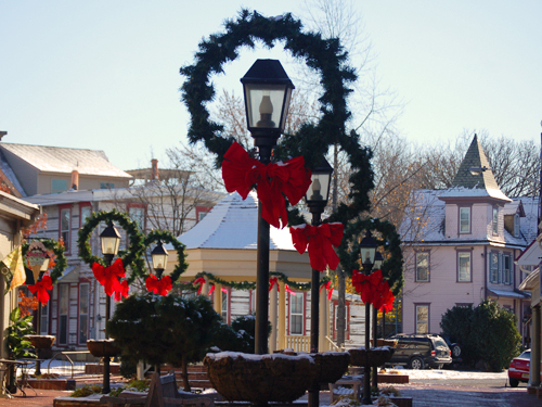 Holiday decorations adorn Kings Court, Haddonfield