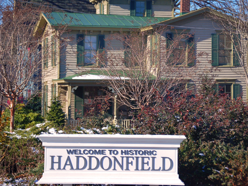 A sign located just south of Kings Highway welcomes visitors to Haddonfield