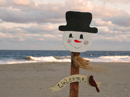 A snowman figure welcomes visitors to the Jersey Shore, Sea Girt