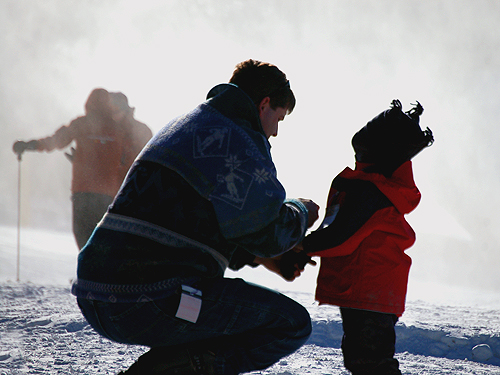 A dad bundles up his little skier at Mountain Creek, Sussex County