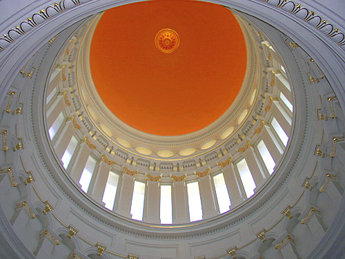 Looking up at the interior of the State House rotunda, Trenton