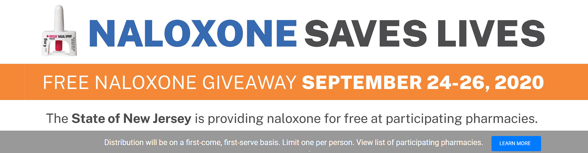 Naloxone can reverse opioid overdoses. NJ Human Services is making the opioid overdose reversal drug naloxone available for free September 24th to 26th at participating pharmacies throughout New Jersey.