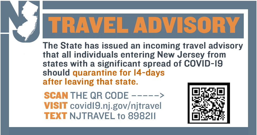 NJ Travel Advisory - https://covid19.nj.gov/search.html?query=Travel