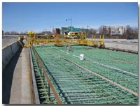 Crews install the steel reinforcement on the deck prior to the concrete placement on the 12th Street Viaduct photo.