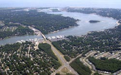 aerial photo of the route 70 over the manasquan river bridge