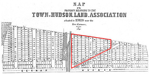 Map of the property belonging to the town of Hudson Land Association situated in Bergen near the Five Corners 1854