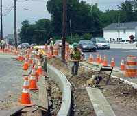 Workers rehabilitate a portion of Route 4 in Paramus as part of a $25 million reconstruction project. This project will be completed in November, nine months ahead of schedule.